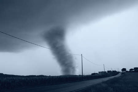 amazing tornado on the roadside photo