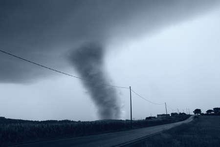 tornado: amazing tornado on the roadside Stock Photo