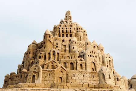 sandcastle: wonderful sandcastle under cloudy sky