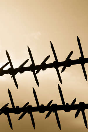 iron fence under cloudy sky at sunset photo