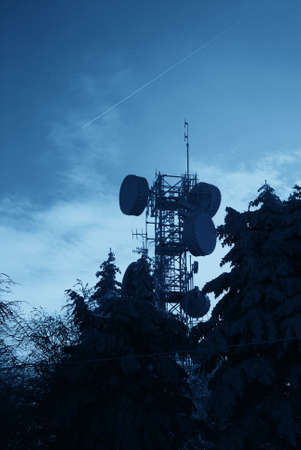 antennas for telecommunications in the night photo