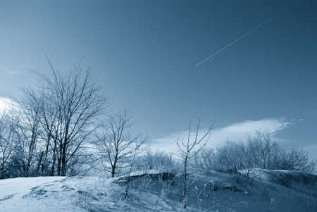 falling star over snowy countryside photo