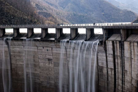 overflow: dam with overflow in autumn