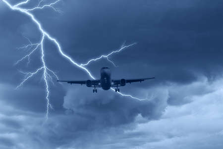 lightning speed: airplane in the sky with lightning Stock Photo