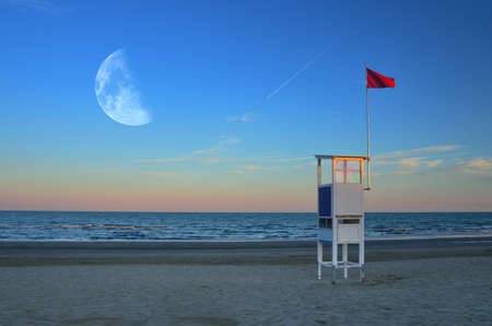 meteorites: tower rescue on the beach at moonlight