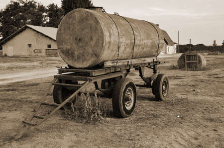 old tanker trailer in countryside photo