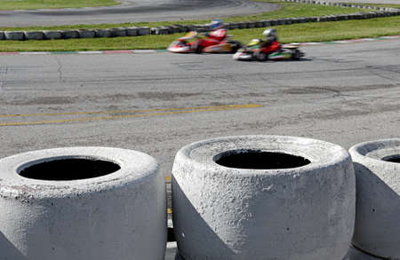 kart: ga kart in race in the circuit Stock Photo
