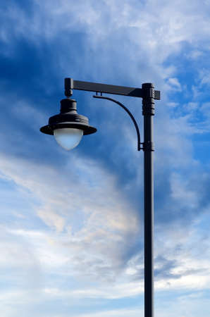 street lamp with blue sky photo