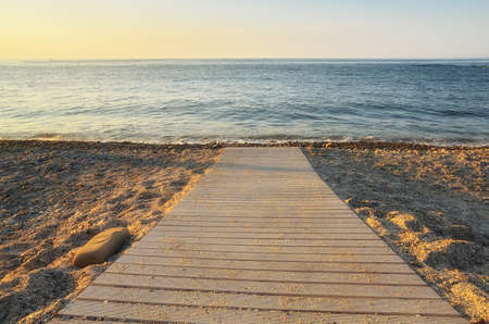 foreshore: foreshore with nice  calm sea at sunset Stock Photo