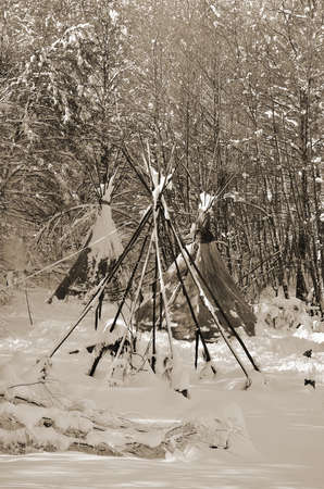 tepee: tepee in the forest wit snow in winter Stock Photo