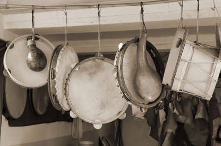 drumming: ancient musical instruments for sale at the market