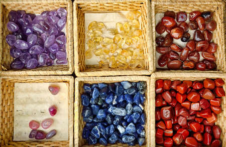 mineralogy: Gemstones in the basket for sell at the market
