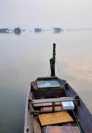comacchio: boat in the lake in Comacchio,Italy, in winter Stock Photo