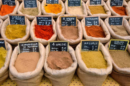eastern medicine treatment: spices for sell at the market in Italy