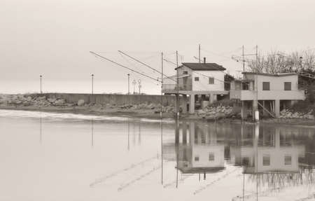 morass: Fishing house in the river in Rimini,Italy