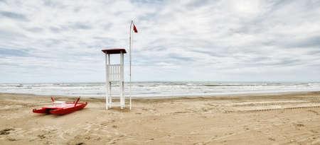 rimini: sea of Rimini,Italy, in winter with cloudy sky Stock Photo