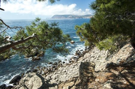 aya: Cape Aya is situated on the southern shore of the Crimea Stock Photo