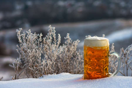 tankard: A mug of beer standing in the snow in the winter