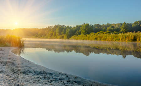 Silent river in the early morning with fog in a wooded area Stock Photo