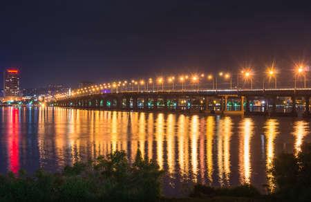 dnepr: the big bridge at night, the river Dnepr, Dnepropetrovsk Stock Photo