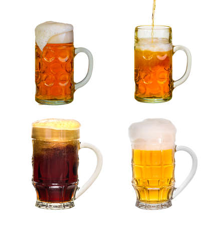 intoxicating: A glass of cold solar light and dark beer isolated on a white background