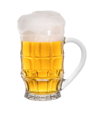 intoxicating: A glass of cold solar light beer isolated on a white background Stock Photo