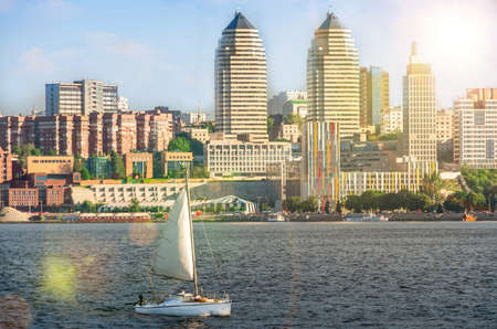 dnepr: Quay of the big city at summer day, the river Dnepr, Dnepropetrovsk