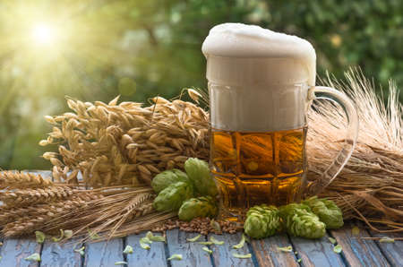 large glass of light beer, malt, hops, barley ears standing on an old wooden table dyeing, natural background Imagens