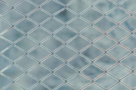 froze: Metal grid in ice. In winter, the rain and froze on the fence mesh. Background.