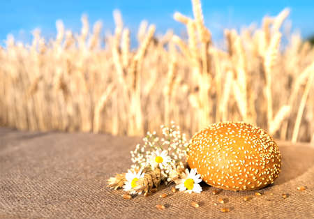 bread bun with sesame seeds lying on a table with flowers of daisies and ears of wheat against the background of a wheat field and blue sky.