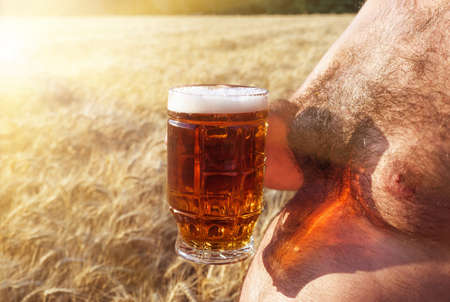 a glass of beer is held by a fat man in the background of a barley field, a glass of beer standing on a large beer belly of a man closeup, a large glass of beer.