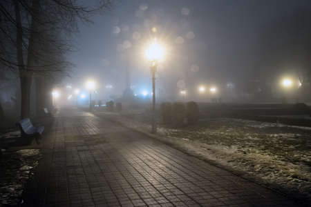 Fog in park at night by the light of street lamps Stock Photo