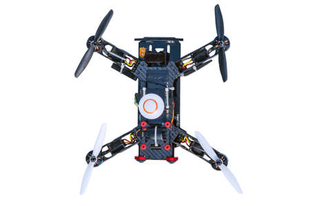 Dron, quad copter Isolated on white background. Remote controlled dron, quadro copter with digital camera. Closeup. New tool for aerial photo and video. 写真素材