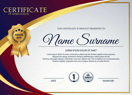 creative certificate of appreciation award template with blue and golden shapes and badge Ilustrace