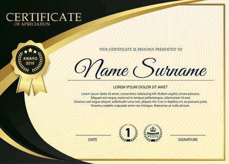 premium golden black certificate template design.
