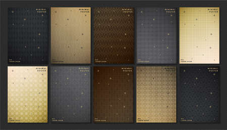 premium cover menu design geometric with brown and black colors. Illustration