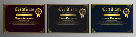 Certificate of appreciation template with vintage gold border - Vector Illusztráció