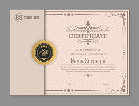 Certificate. Template diploma currency border. Illusztráció
