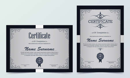 Certificate. Template diploma currency border. Award background Gift voucher.
