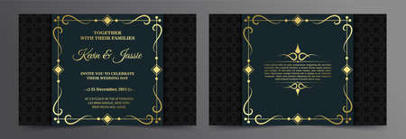 Luxury invitation card vector design vintage style Иллюстрация