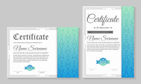 Classic certificate award template with gradient blue colors.