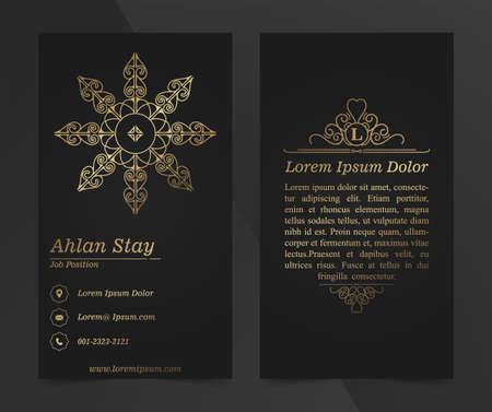 Business Cards. Vintage decorative elements. Ornamental mandala business cards, oriental pattern, vector illustration.