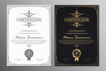 Luxury black and gold certificate with gold frame color.