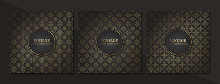 Set of Vintage seamless damask pattern and elegant floral elements in dark black and gold.