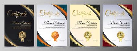 Appreciation certificate best award diploma set.
