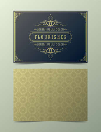 Luxury vintage ornament greeting card vector template. Retro wedding invitation, advertising or other design and place for text. Flourishes ornamental frame and pattern background.