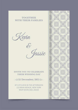 Elegant ornamental wedding card template