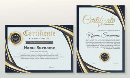 Appreciation certificate best award diploma set. Иллюстрация