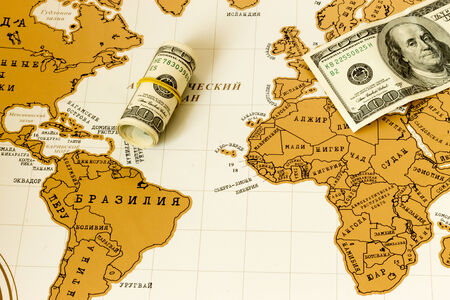 love: ove to travel  Map of the world  Money  Stock Photo