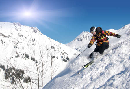 arri�re-pays: Skier hors piste Banque d'images